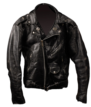 Black leather jacket purported to have been worn by Ramones drummer Marky Ramone. The jacket was withdrawn from auction. Image courtesy of RR Auction.