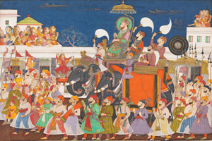 Procession of Maharao Ram Singh II of Kota, c.1850. Opaque watercolor on paper. ©Victoria and Albert Museum, London.