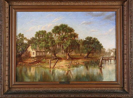 William Henry Buck (American/New Orleans, 1840-1880), 'School House by the Shore, Louisiana Bayou,' oil on canvas, initialed 'W.H.B.' lower right, 'Seth L. Baldwin' on handwritten label and H.W. Gear & Co., New York canvas stamp en verso, 14 inches x 20 inches, in a period giltwood frame with brass plaque. Estimate: $80,000-$120,000.