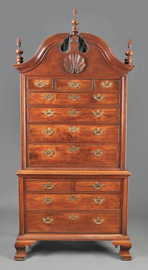 American Chippendale carved walnut chest-on-chest, circa 1760, probably Delaware Valley, height 95 1/2 inches, width 45 3/4 inches, depth 24 5/8 inches. Estimate: $40,000-$60,000. Image courtesy of Neal Auction Co.