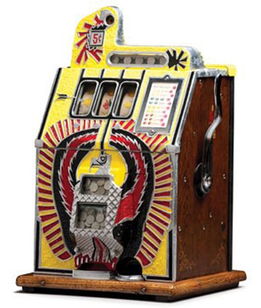 c. 1931 Mills 'War Bird' Nickel Slot Machine. Image courtesy of LiveAuctioneers.com and RM.