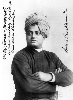 Swami Vivekananda in a photo taken in Chicago in September, 1893. During his visit, the chief disciple of the 19th-century saint Ramkrishna Parmahansa and founder of the Ramakrishna Mission spoke at the Chicago Art Institute during the World's Columbian Exposition. This photo is in the public domain in the USA.