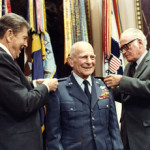 President Ronald Reagan and Senator Barry Goldwater award Gen. Jimmy Doolittle a fourth star 26 years after his retirement from the U.S. Air Force. Gen.Doolittle was advanced to four-star rank by Senate confirmation, making him the first person in Air Force Reserve history to wear four stars. Photo taken April 10, 1985 by Bill Fitz-Patrick, White House Photo Office.