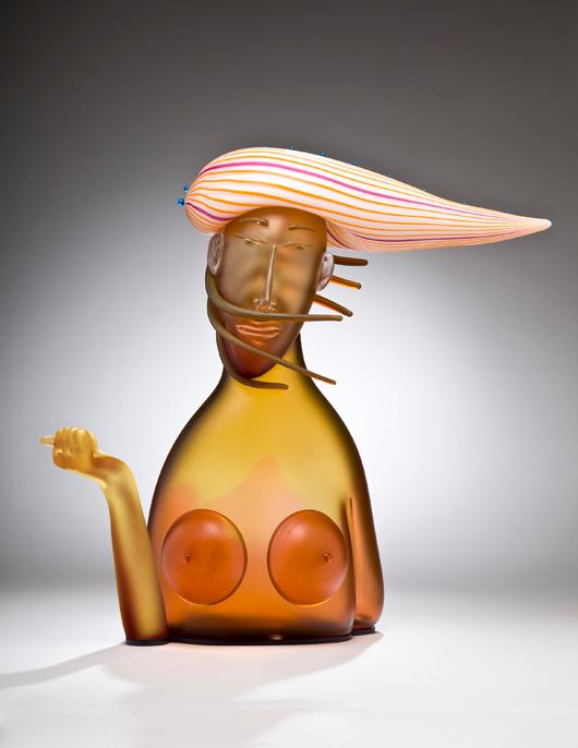 "Dan Dailey, Breeze, Individuals Series 2011, Blown glass, sandblasted and acid polished, anodized aluminum, 25½ x 21½ x 8½"", Photo: Bill Truslow, Schantz Gallerie"