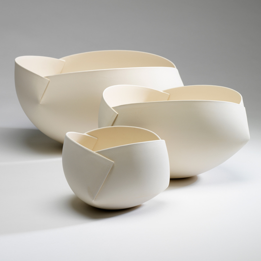 Ann Van Hoey, Growing, 2009, White Earthenware, slab building and molding, H15x30x30cm., H13x23x23cm, H10x15x15cm, J. Lohmann Gallery
