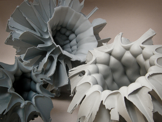 Zsolt József Simon, 'Flower' Sculptures, Colored stoneware, Hungary, 2011, Sculpture top: c. 14 1/2 in. h. x 14, 1/2 in. wide x 12 1/4 in. deep. Sculpture left: c. 9 3/4 in. h. x 9 3/4 in. wide x 9 1/8 in. deep, J. Lohmann Gallery