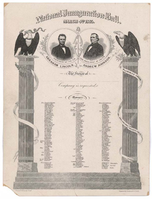 Invitations to Abraham Lincoln's inauguration balls were among the items allegedly stolen by Barry Landau of New York City. Image courtesy of LiveAuctioneers.com Archive.