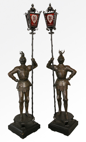 Pair of Continental bronzed iron torcheres, 87 inches high x 21 inches wide. Estimate: $2,000-$4,000. Image courtesy Kaminski Auctions.