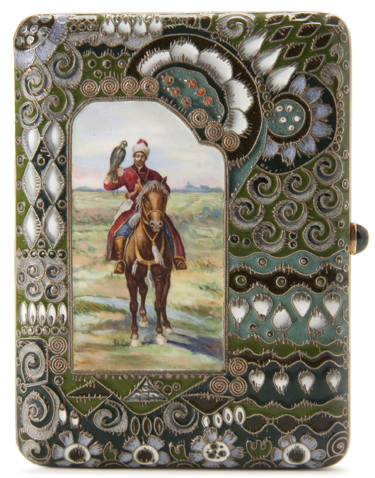 This silver-gilt Faberge cigarette case with an inscription dated 1913 sold for $120,000 in last November's highly successful offering of Russian art at Jackson's. The cover bears an image of the Tsar's Falconer after a painting by Franz Rouband (1856-1928). Courtesy Jackson's International Auctioneers.
