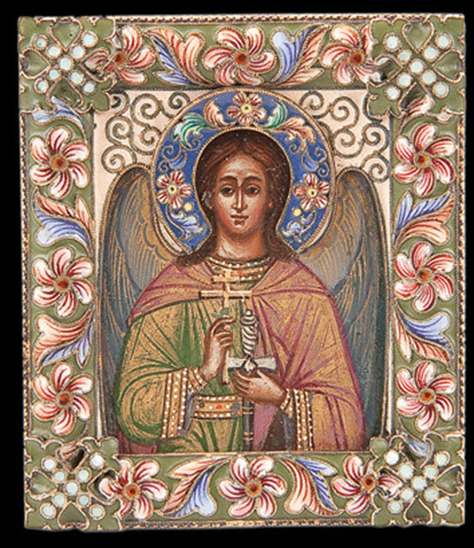 Only two and a half inches high, this personal icon of a guardian angel was made by the distinguished Moscow workshop of Feodor Ruckert, 1899-1908, and was sold in 2010 for $36,000. Courtesy Jackson's International Auctioneers.