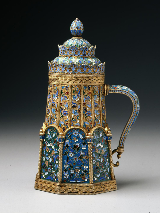This tankard made by the Moscow firm of Pavel Ovchinnikov, 1888-1896, is part of the Jean M. Riddell collection of over 260 Russian enameled objects recently given to the Walters Art Museum in Baltimore. Collectors can look forward to a catalogue and traveling exhibition of the works. Courtesy The Walters Art Museum.