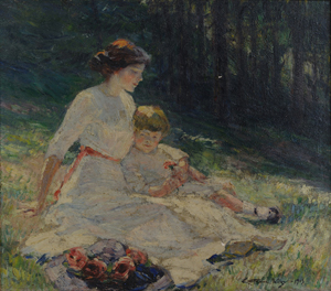 This oil on canvas of a mother and child, painted by Catherine Wiley in 1913 before her career-ending breakdown, sold to a museum for $107,880. The price was an auction record for a Tennessee female painter. Image courtesy of Case Antiques Auction.