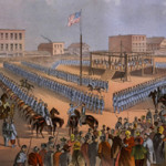 The hanging of 38 Sioux Indians in Mankato, Minn., on Dec. 26, 1862. Image courtesy of unitednativeamerica.com.