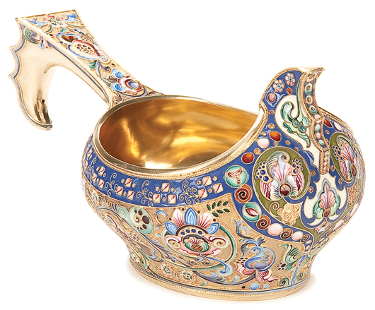 This fine silver-gilt kovsh with shaded enameling in the Pan-Slavic taste, Moscow 1908-1917, brought $26,400 when Jackson's sold the lifetime collection of Dr. James F. Cooper in May 2010. Courtesy Jackson's International Auctioneers.