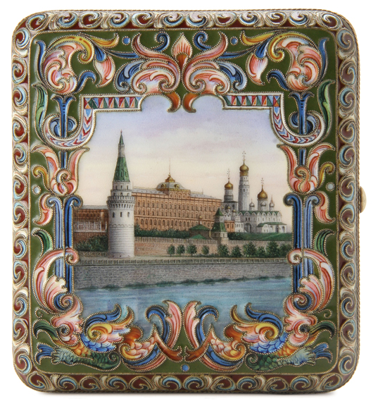 A scenic view of Moscow surrounded by enameled foliage decorates this silver-gilt cigarette case by Feodor Ruckert, circa 1900, which brought $60,000 at auction last November. Courtesy Jackson's International Auctioneers.