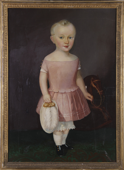 Early portrait of a young boy (American 19th century), oil on canvas. Estimate: $2,000-$3,000. Image courtesy Myers' Antiques Auction Gallery.