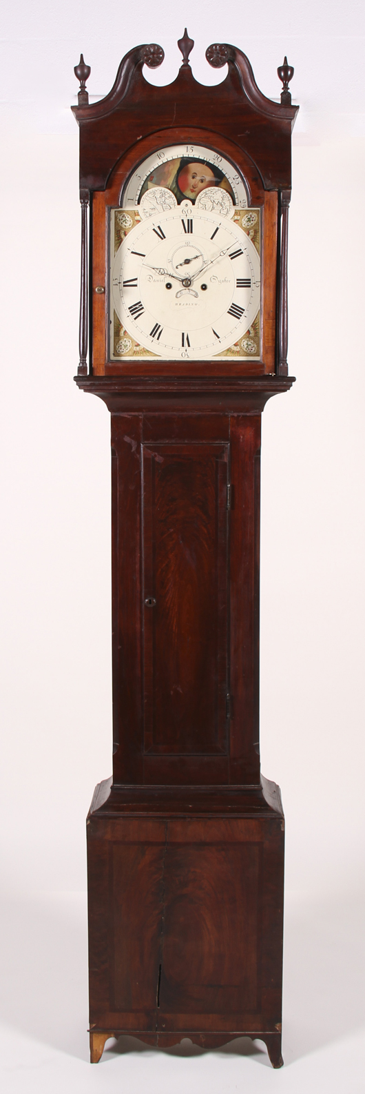 Federal 1822 walnut Daniel Oyster tall-case clock, Pennsylvania, moon phase dial. Estimate: $2,000-$4,000. Image courtesy Myers' Antiques Auction Gallery.
