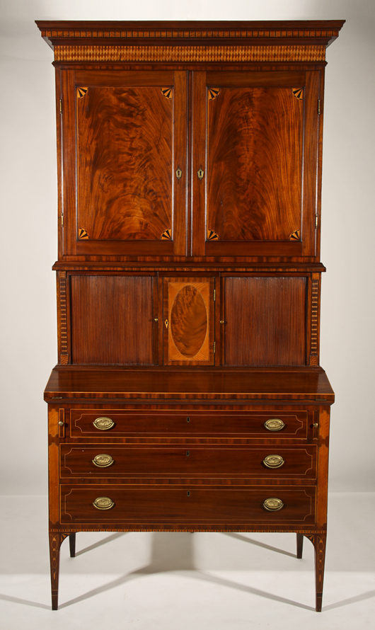 Rare 1816 Federal Mahogany inlaid tambour desk, possibly Connecticut River Valley. Estimate: $15,000-$25,000. Image courtesy Myers' Antiques Auction Gallery.
