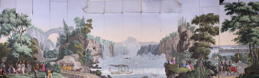 Zuber scenic wallpaper 'Niagara Falls,' one of four scenes from 'Views of North America. Image courtesy Myers' Antiques Auction Gallery.'