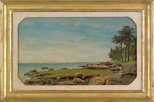George Thompson Hobbs (American, 1846-1929), oil on board coastal scene, signed lower right, 12 inches  x 20 inches. Image courtesy Pook & Pook Inc.