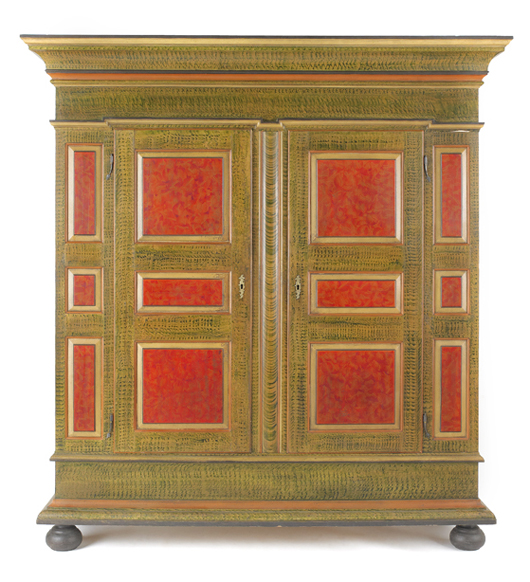 Reproduction Lancaster County decorated schrank made by Irion & Co., 88 inches high x 72 1/2 inches wide. Image courtesy Pook & Pook Inc.
