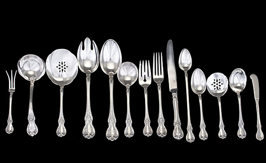Seventy-eight pieces of Towle sterling silver flatware. Estimate $2,000-$3,000. Image courtesy Cowan's Auctions Inc.