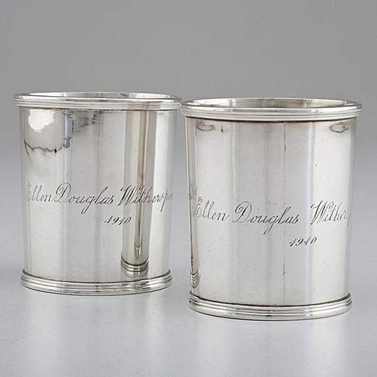 Asa Blanchard coin silver julep cups. Estimate $6,000-$8,000. Image courtesy Cowan's Auctions Inc.