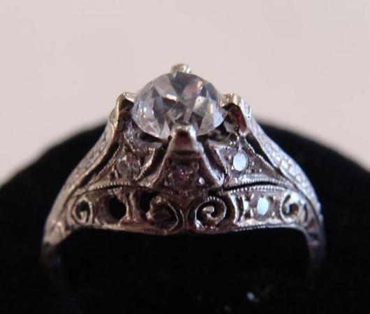 Art Deco platinum and diamond ring. Image courtesy Professional Appraisers and Liquidators.