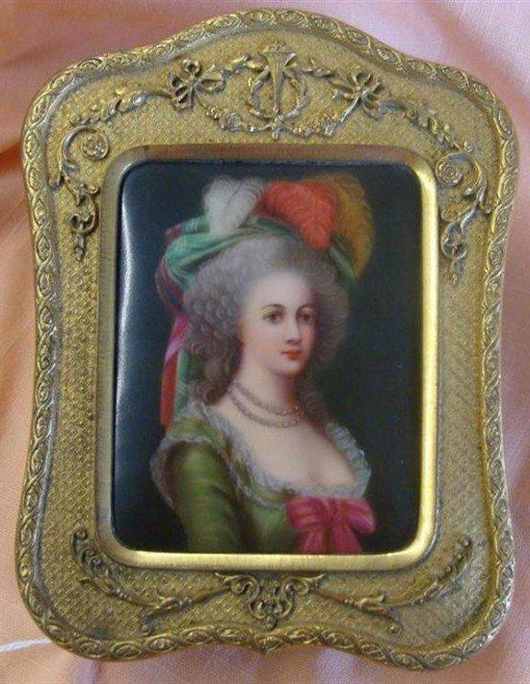 Antique dore bronze jewelry casket with hand-painted porcelain insert portrait of Marie Antoinette. Image courtesy Professional Appraisers and Liquidators.