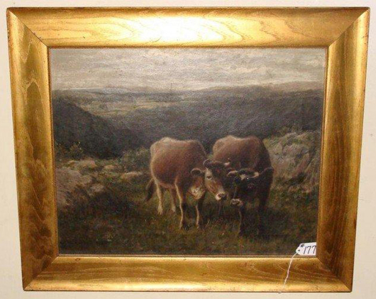 Antique George Hays oil painting, 'Cows in Pasture,' artist signed and dated 1900. Image courtesy Professional Appraisers and Liquidators.