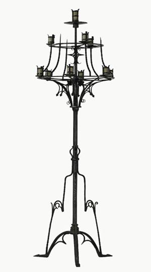 Samuel Yellin, massive wrought-iron candelabrum. Estimate: $18,000-$24,000. Image courtesy Rago Arts and Auction Center.