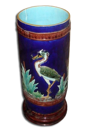 Holdcroft majolica Stork & Cattails umbrella stand, 21 1/2 inches high. Image courtesy Professional Appraisers and Liquidators.
