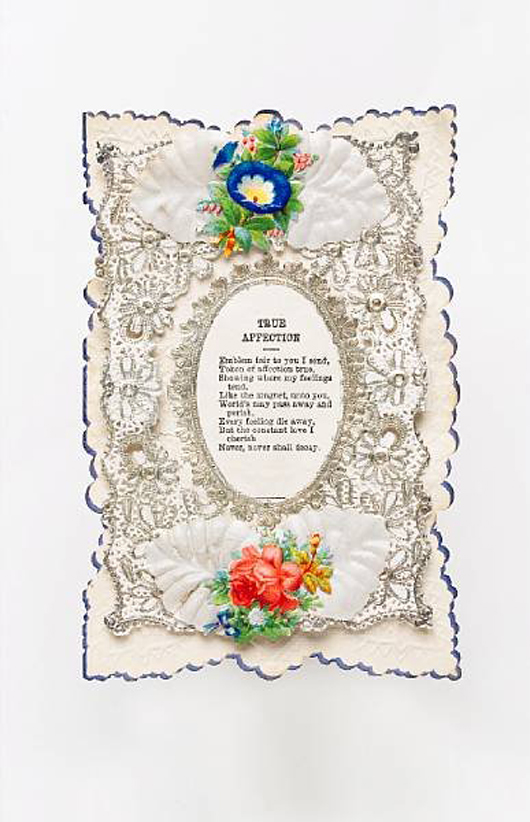 Victorian paper-lace valentine with verse professing 'True Affection,' auctioned by Bonhams in Oxford, England, March 14, 2006. Image courtesy of LiveAuctioneers.com Archive and Bonhams.