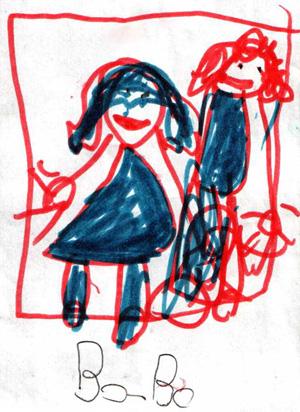 Bo Eden Tillmanns-Ellison (American, b. 2006-), 'Julia and Eric,' 2012, colored marker on paper. Courtesy of the artist.