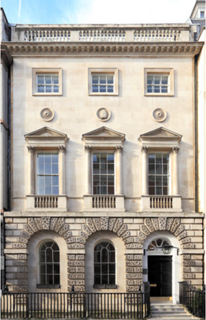 Exterior of Ely House, now home to the London antiques firm Mallett. Image courtesy of Mallett.