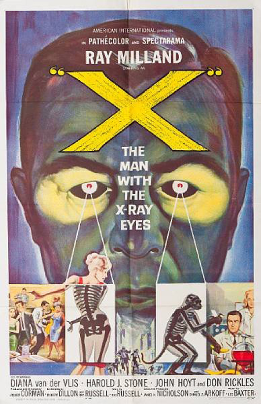 Poster for Roger Corman's 1963 science fiction triller 'The Man With the X-Ray Eyes.' Image courtesy LiveAuctioneers.com Archive and Bonham's.