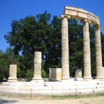 The ruins of the Phillippeion at Olympia, Greece. Image courtesy Wikimedia Commons.