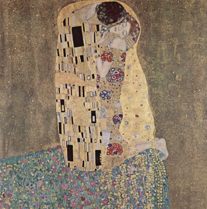Gustav Klimt's masterpiece, 'The Kiss,' 1907-08. Image courtesy Wikimedia Commons.
