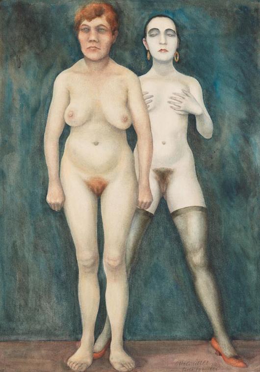 Eines von Otto Griebels seltenen Gemälden, Zwei Frauen, 1924, wurde wiederentdeckt als es ein Kunde zu einem Expertentag von Ketterer Kunst brachte. Foto mit freundlicher Genehmigung von Ketterer Kunst.