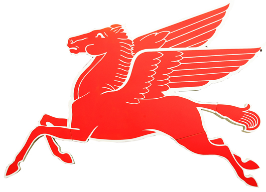 The automobilia section of the sale includes this Mobil Pegasus advertising sign in crisp condition. A&S image.