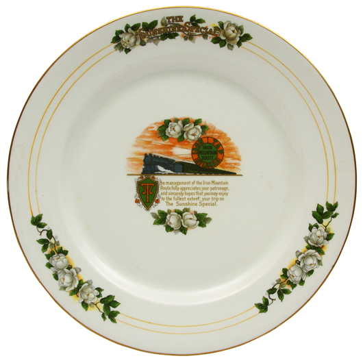 The late Roy Gay prized this beautiful plate from the Great Northern Railroad's Sunshine Special above all other china in his vast collection. A&S image.