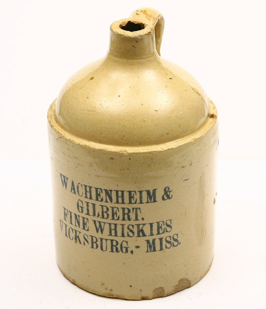 This Wachenheim & Gilbert Fine Whiskies crock is one of approximately 100 stoneware crocks in the Roy Gay collection. Most are marked for railroad lines, brands of whiskey or other alcoholic beverages; or saloons. A&S image.