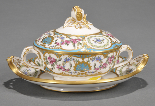 Fine individual examples of turn-of-the-20th century porcelain can often be acquired for reasonable sums. This beautifully-decorated Copeland porcelain covered bowl and stand, circa 1896, was purchased in the January 2011 sale for $296. Image Courtesy Skinner Auctions.