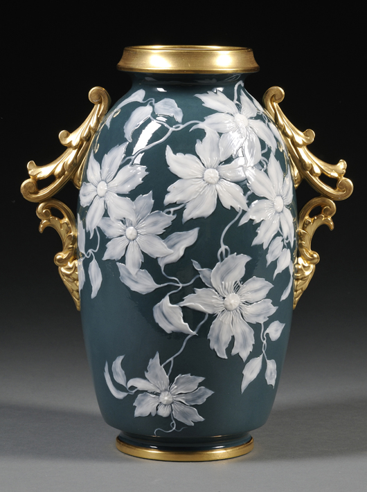 Pate-sur-pate is a delicate, time-consuming technique that continues to command aesthetic admiration and competitive bids from collectors. This Grainger Worcester vase with gilded handles, circa 1892, sold for $2,607 (est. $300-$500) in Skinner's January Fine Ceramics sale. Image Courtesy Skinner Auctions.