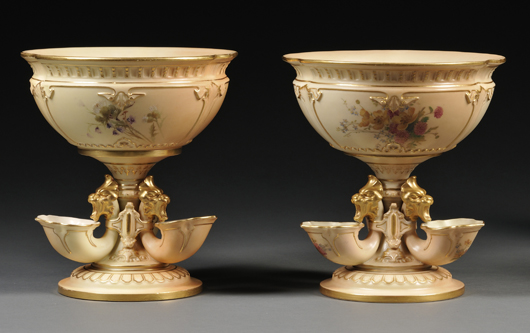 Designed to hold complex floral arrangements on a formal table, a pair of Royal Worcester vase with applied lion masks brought $711 earlier this year. Image Courtesy Skinner Auctions.