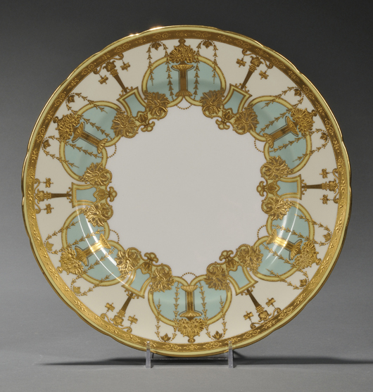 Flush with industrial profits, wealthy Americans wanted to buy the best. These Royal Crown Derby service plates, circa 1911, were retailed in the United States by Tiffany & Co., New York; the gilded and enameled set of 10 sold in 2011 for $1,659. Image Courtesy Skinner Auctions.