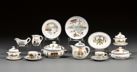 Noble nurseries featured elaborate toy tableware for children's play. This extensive Wedgwood Queen's ware set made just before World War I sold for $4,147; the 'Noah's Ark' pattern was designed by Daisy Makeig-Jones, the artist behind the firm's Fairyland Lustre line. Image Courtesy Skinner Auctions.