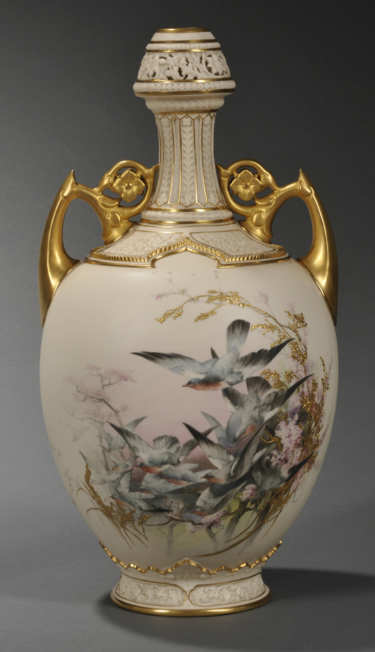 Collectors pay a premium for individual pieces decorated by well-known artists. This bottle-formed Worcester porcelain vase, circa 1888, enameled with birds in flight by Charles Baldwyn, soared to $5,925 (est. $800-$1,200) in a 2011 auction. Image Courtesy Skinner Auctions.