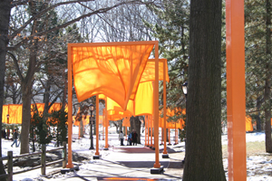'The Gates,' installed by Christo in New York's Central Park in 2005. Image by Morris Pearl. This file is licensed under the Creative Commons Attribution ShareAlike 3.0 License.