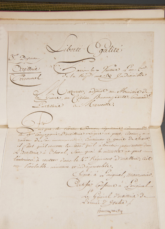 Circa-1794 letter signed by Gen. Napoleon Bonaparte that was tucked inside a circa-1900 leather-bound edition of 'The Life of Napoleon,' est. $4,000-$6,000. Image courtesy of Waverly's Rare Books.